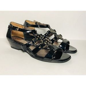 Sofft Patent Leather Gladiator Wedge Sandal Sz. 8